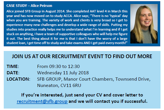 Accountancy career - recruitment day 11th July